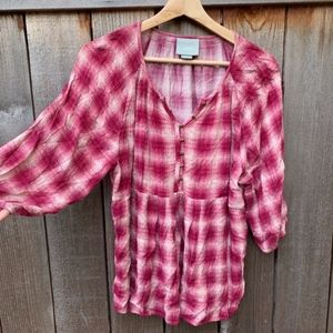 MAEVE | Anthropologie Red White Plaid Blouse